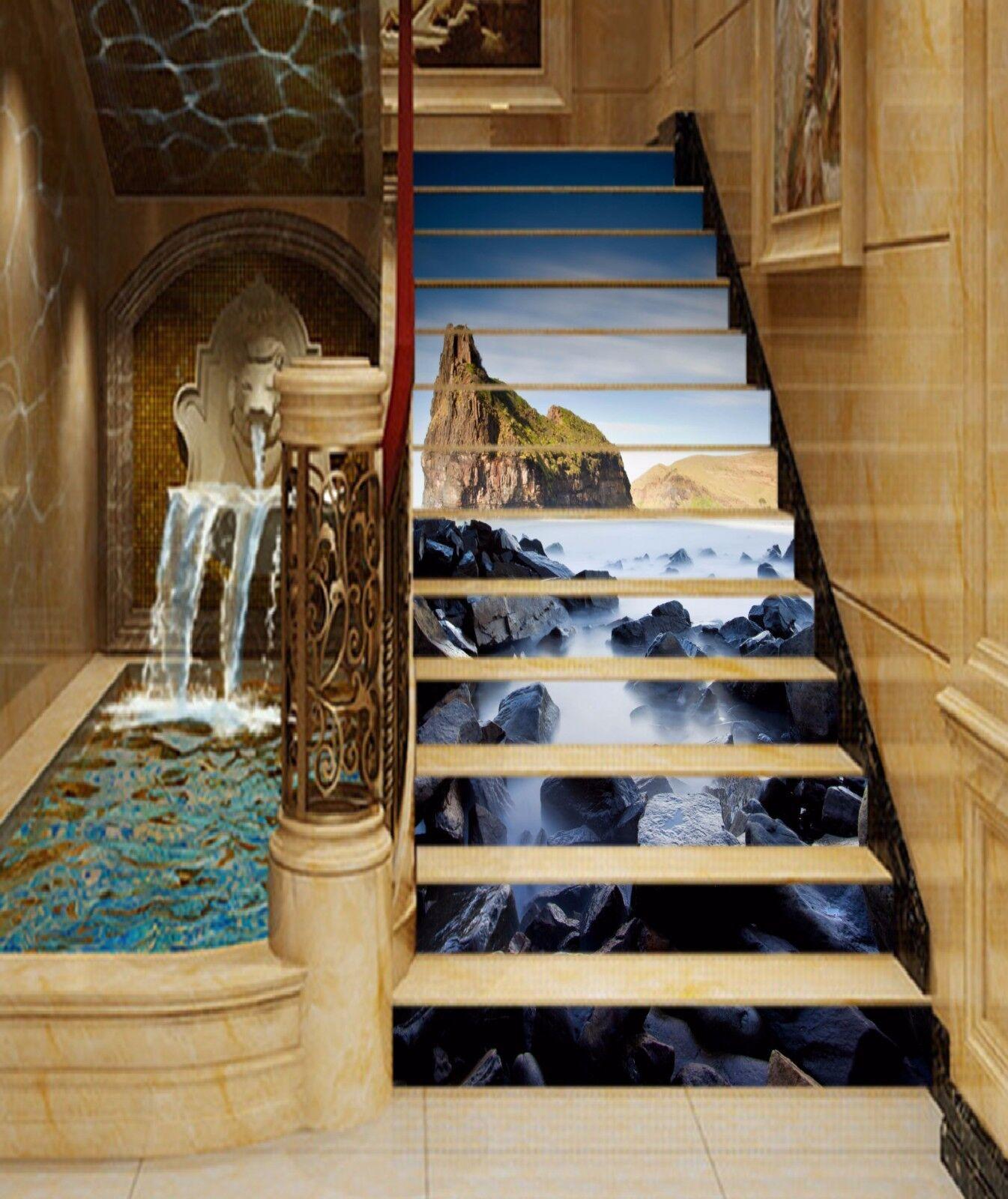 3D Stones Mountain Stair Risers Decoration Photo Mural Vinyl Decal Wallpaper AU