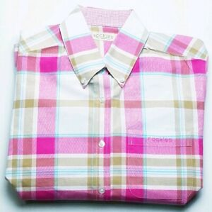 Rockies-Womens-Pink-Tan-White-Long-Sleeve-Button-Down-Western-Shirt-Size-Small