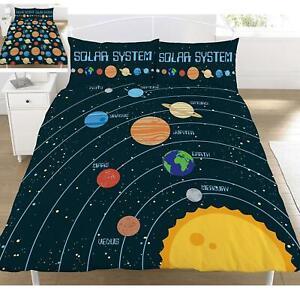 Solar-System-Double-Housse-de-Couette-et-Taie-Set-Reversible-Planetes-Chambre