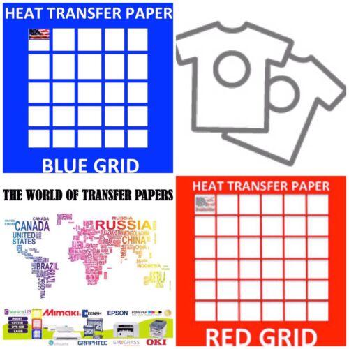 "InkJet T Shirt HEAT TRANSFER PAPER Combo 25 Sh Each Dark /& Red Grid 8.5x11/"""