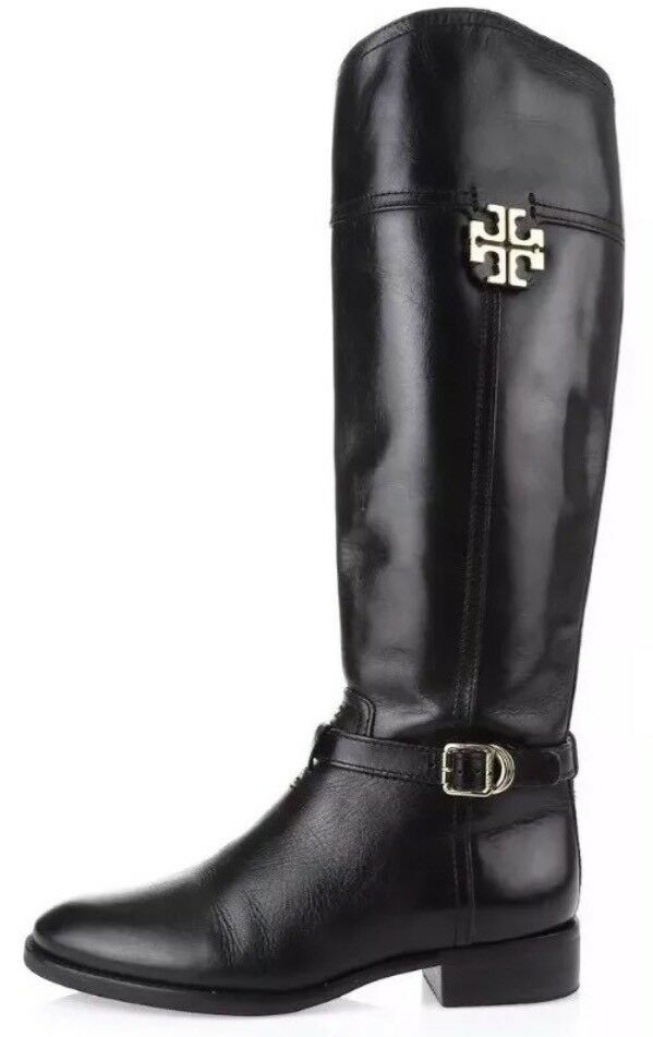 Tory Burch Eloise Leather Riding Boots Black Black Black Women Size 10.5M 1093 669822