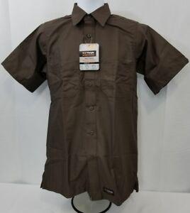 824935d34fcec Image is loading Wrangler-WORKWEAR-Brown-canvas-short-sleeve-work-shirt-