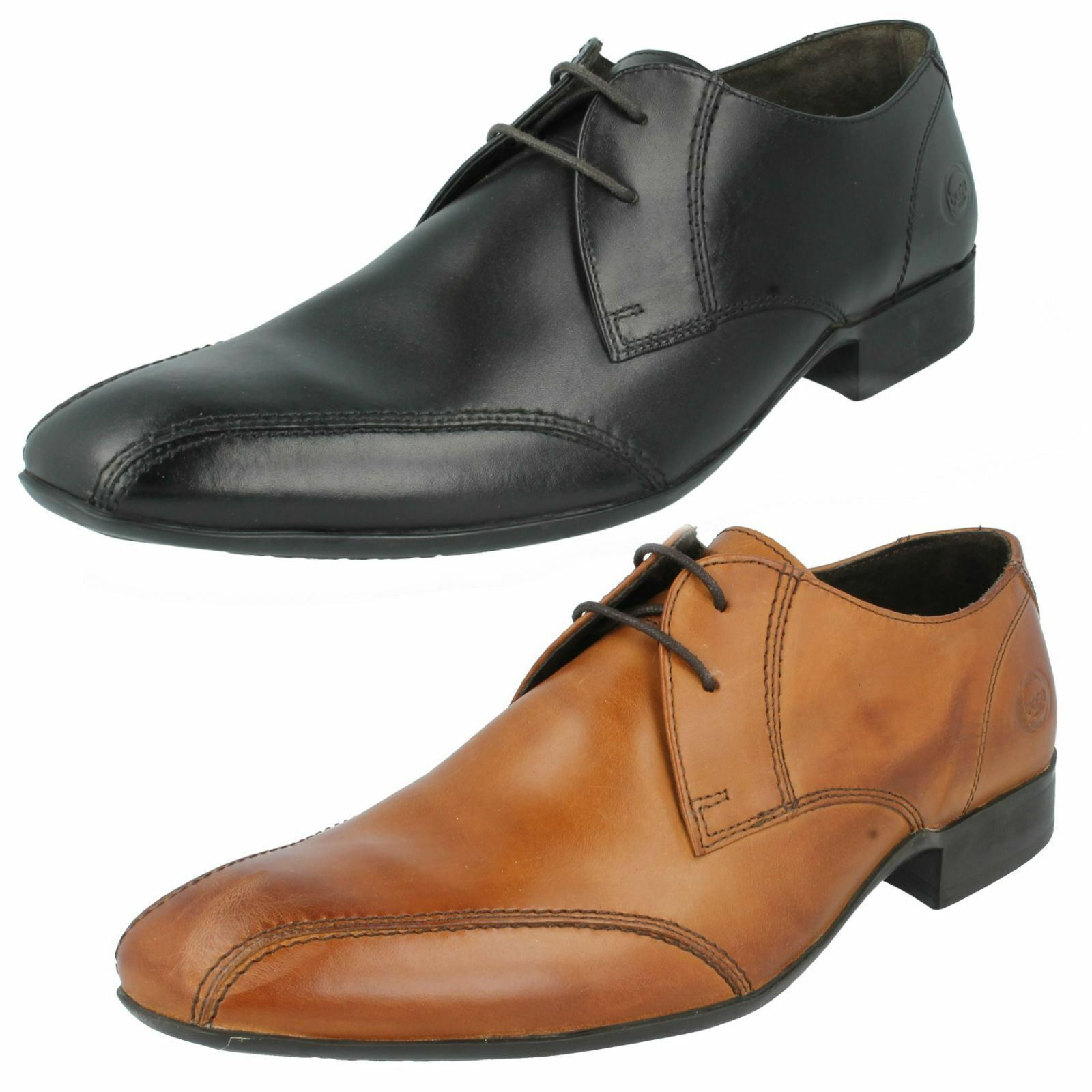 MENS BASE LONDON BLACK & TAN LEATHER LACE UP FORMAL SHOES STYLE INDENT MTO
