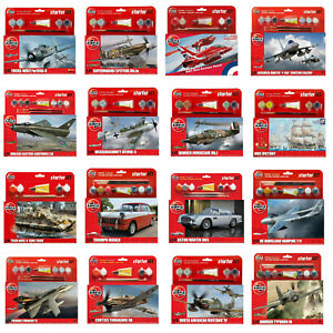 Airfix Starter Sets Kits - Aircraft Cars Ships Including Paints Brush & Glue