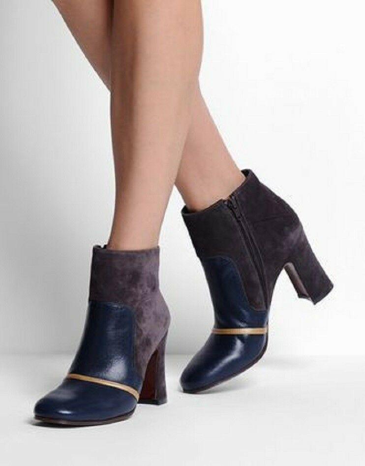 CHIE MIHARA SHOES GAMBLER ANKLE BOOTS NAVY LEATHER GRAY SUEDE GOLD BOOTIES 590