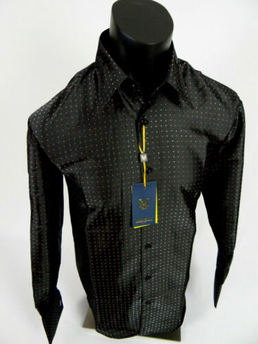 Mens Manzini Shirt Black with Red Micro Paisley Dots Cuff Links Button Front