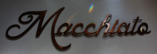 "COFFEE WORDS  /""Macchiato/"" small METAL ART WALL DECORATION COPPER//BRONZE PLATED"