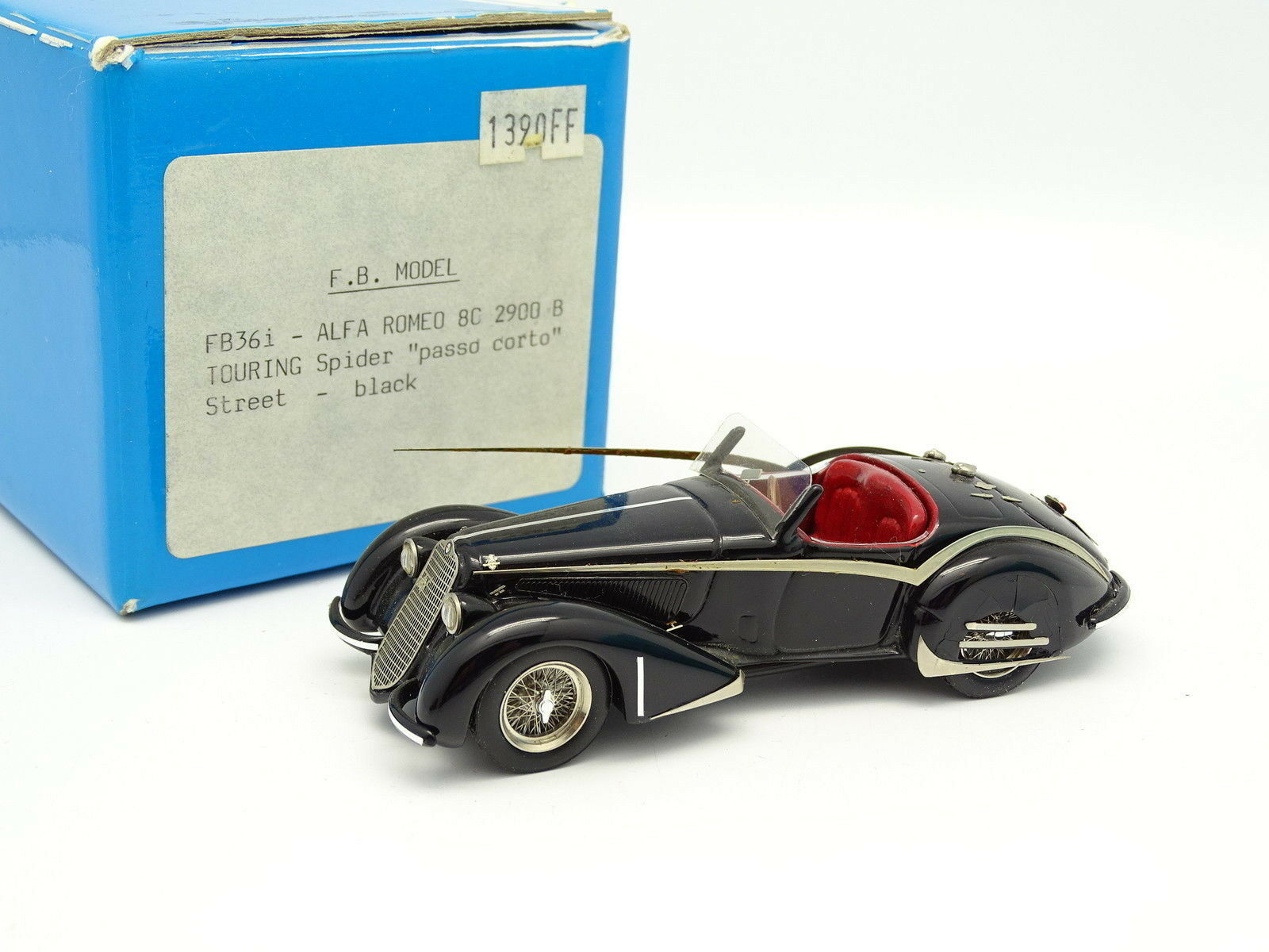 FB Modelo Resina 1 43 - Alfa Romeo 8C 2900 B Touring Spider Passo Corto Negra