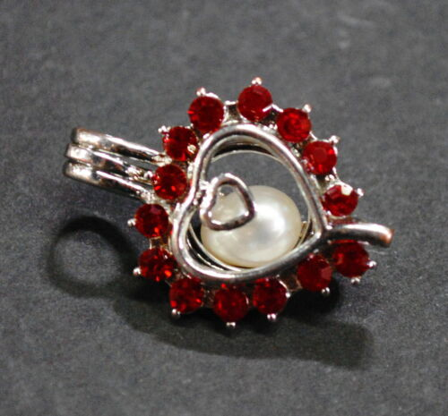 Vintage Silver Pendant Heart Charm with Pearl Flo… - image 1