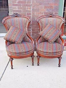 Stupendous Details About Victorian Antique Ornate Walnut Parlor Slipper Chair Matching Pair Bralicious Painted Fabric Chair Ideas Braliciousco