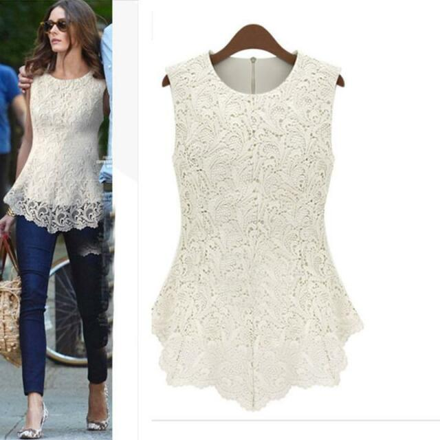Women Lace Blouse Sleeveless Shirt Doll Chiffon Tops 8 Colors S-5XL Top White