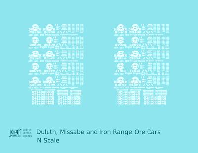 K4 O Decals Duluth Missabe and Iron Range Ore Hopper Cars White DMIR