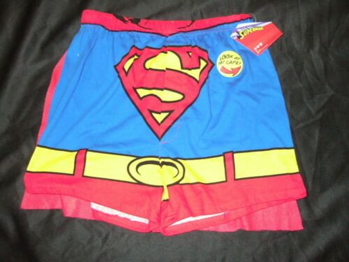 Nwt Mens Sm 28-30 DC Comics Superman Logo Boxer Shorts With Removable Red Cape