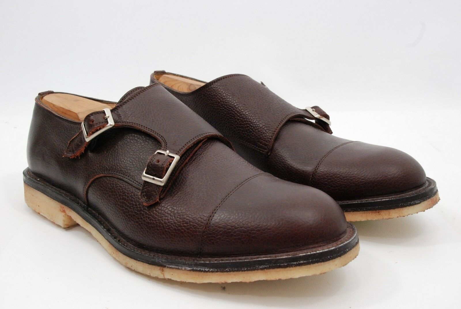 Kenneth Field for Unionmade Brown Pebble Grain Leather Double Monk shoes 12 US