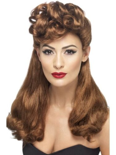 Vintage WW2 40s Brown Wig Ladies Long Fancy Dress Costume Accessory