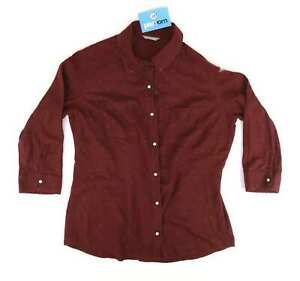 Marks-amp-Spencer-Womens-Size-12-Geometric-Cotton-Burgundy-Shirt-Regular