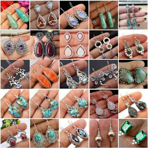 925-Silver-Moonstone-Turquoise-Ear-Stud-Hook-Dangle-Amethyst-Earrings-Jewelry