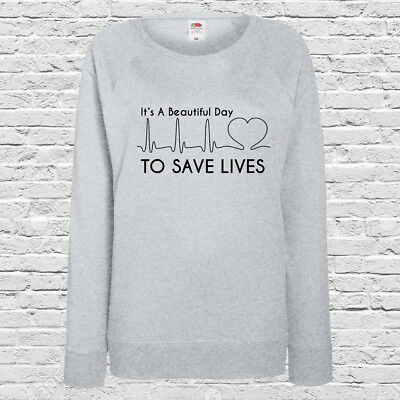 Grey's Anatomy Printed Ladies Jumper - It's A Beautiful Day To Save Lives Jade Weiß