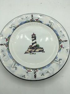 Lighthouse-Salad-Plate-s-7-75-034-Nautical-By-the-Sea-Totally-Today-Stoneware-Blue
