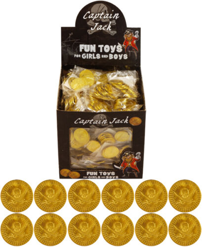 72 Gold Pirate Coins Plastic Treasure Party//Loot Bag Pinata 6 Bags Of 12