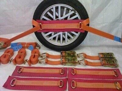 Ratchet Straps,12Pcs Professional Car Tire Straps Vehicle Recovery Ratchet Tie-Down Wheel Straps Car Transporter Tie-Down Set Orange