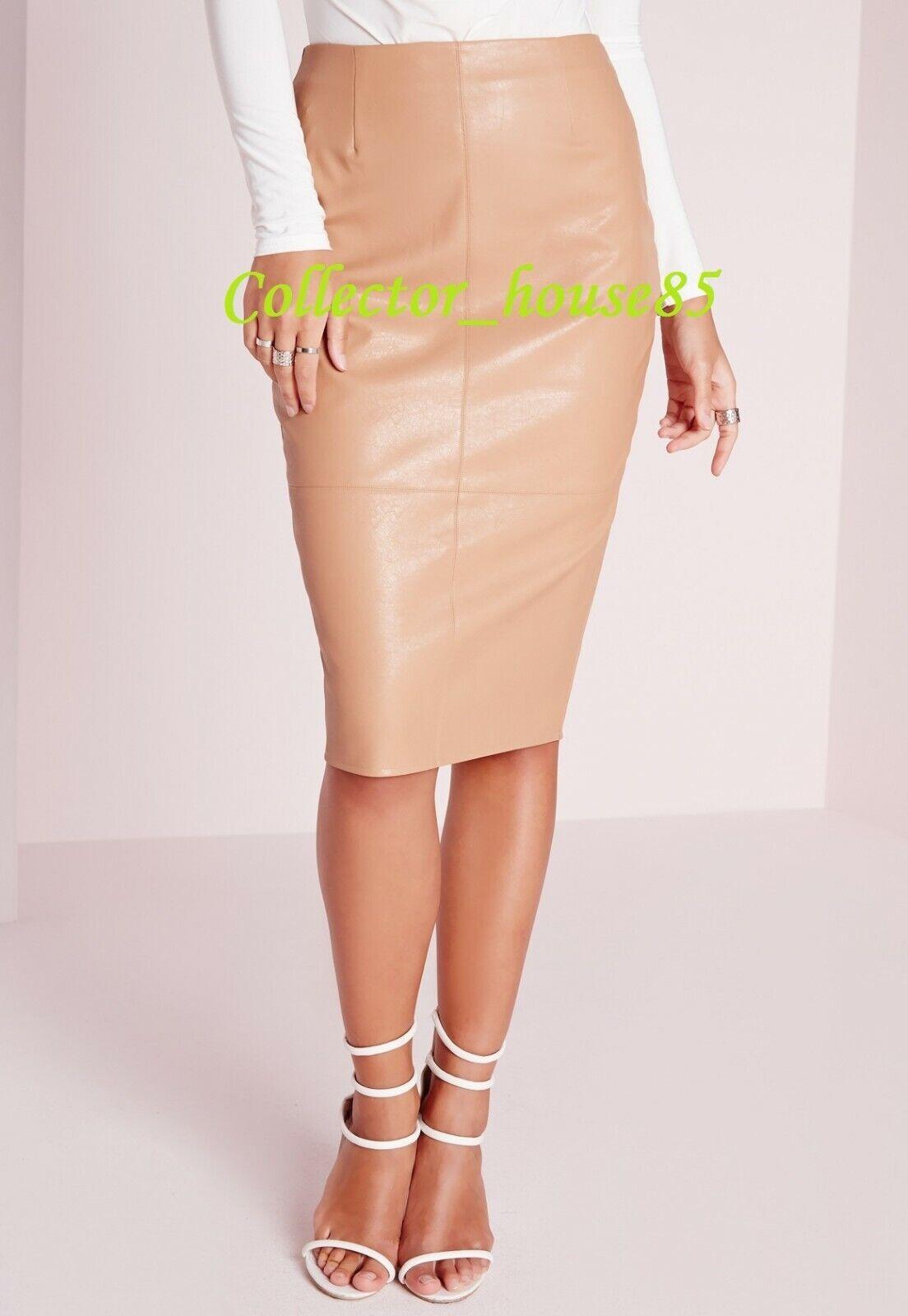 New Women Skirt 100% Genuine Beige Lambskin Leather Office Party Casual Wear 49