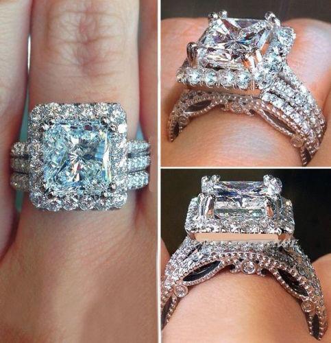 11 Ct Princess Cut Sim Diamond Halo Style Engagement Wedding Ring 10K White gold