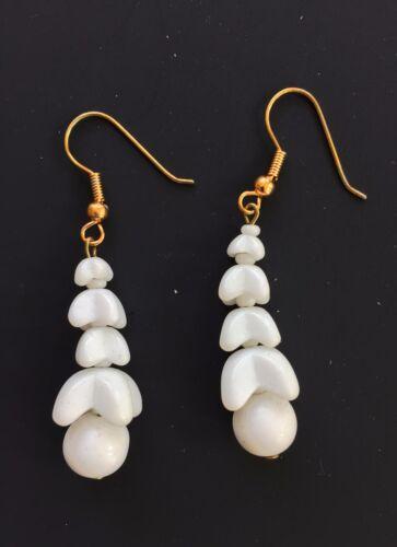Weiß Glasperlen Ohrhänger Ohrringe für Gelochte Ohren Vintage Ohrringe