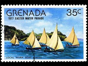 GRENADA-VINTAGE-POSTAGE-STAMP-BOAT-RACES-SAIL-PHOTO-ART-PRINT-POSTER-BMP1692A