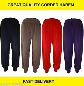 Ladies Plain corded Harem hareem Pants Cuffed Bottom Ali Baba Womens Trousers