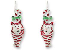 Zarah Zarlite Candy Cane CAT EARRINGS Silver Plated Enamel Christmas - Gift Box