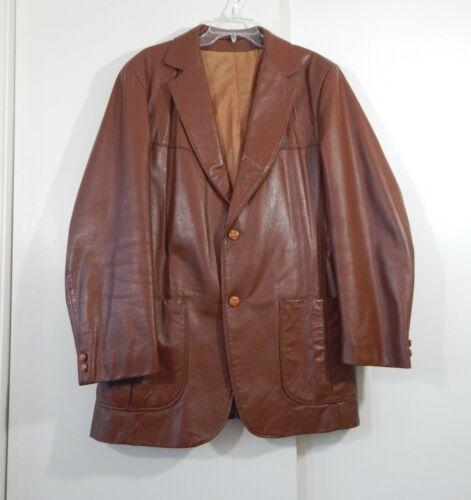 VINTAGE 70s LEATHER JACKET blazer sport coat two b