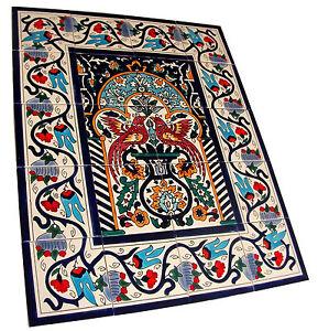 Mediterrane fliesen fliesenbild handbemalt bord ren seltenes mosaik wandbild ebay - Mediterrane fliesen ...