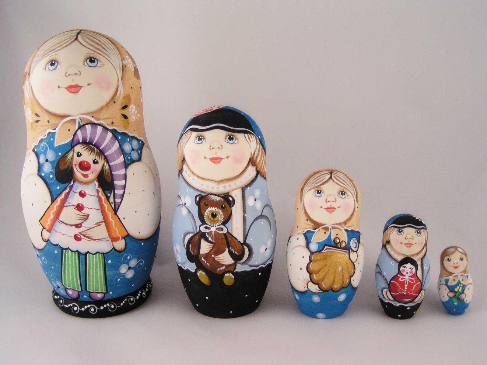 Russe Matriochka Babushka en Bois Nesting Empilage Poupée Enfants avec jouets 5 pcs