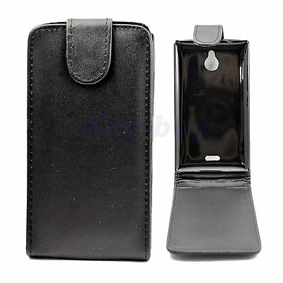 Black Leather Skin Flip Cell Phone Pouch Cover Case Accessories For Nokia X2