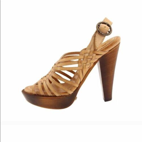 Frye joy huarache tan slingback heel sandals Sz 7