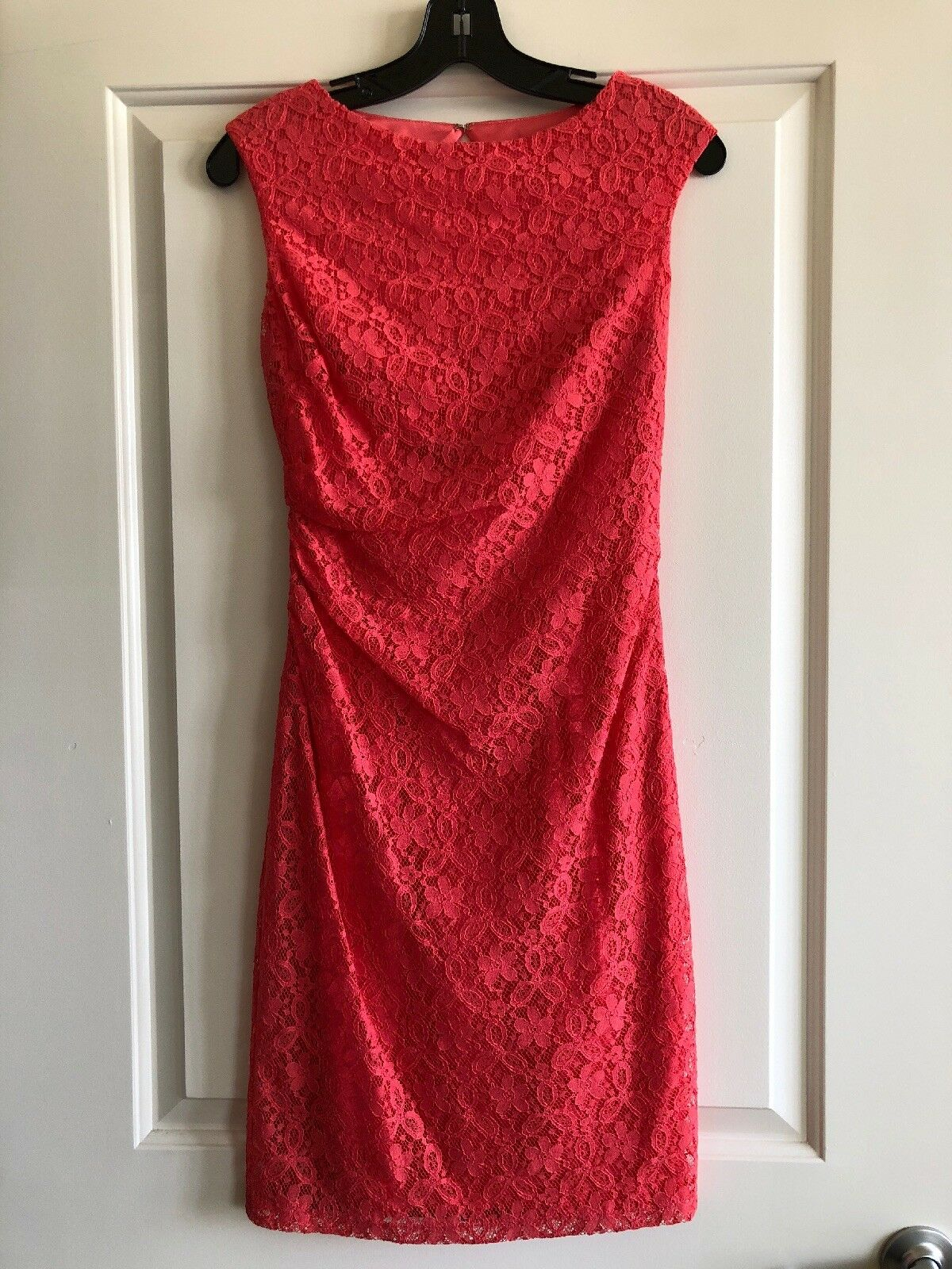 David Meister Floral Lace Dress, Coral, Size 2