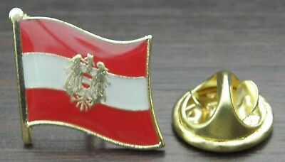 Austria National Flag Europe Country Round Metal Tack Hat Pin Brooch