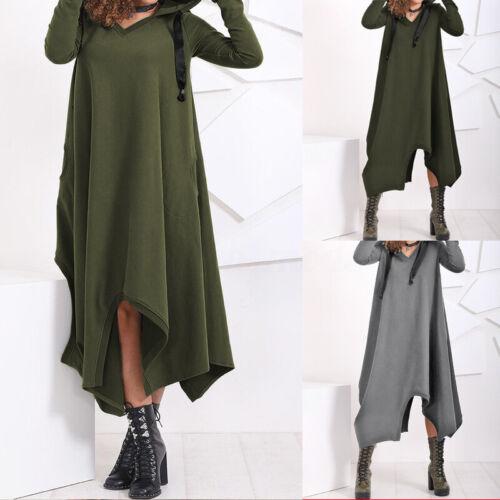 Mode Femme Sweat-shirt Robe Ourlet irrégulier Casuel Manche Longue à capuche