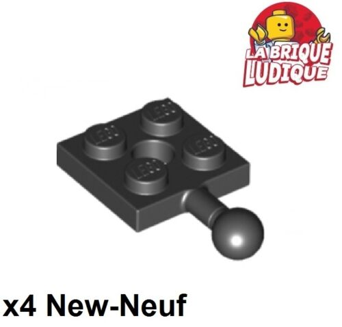 Lego - x4 Plate Modified 2x2 Towball and Hole noir/black 15456 NEUF