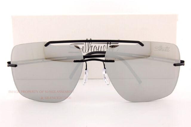 bd4c4e0f6cf Silhouette Titanium Sunglasses Explorer Matte Black Silver Mirror 8674-6227