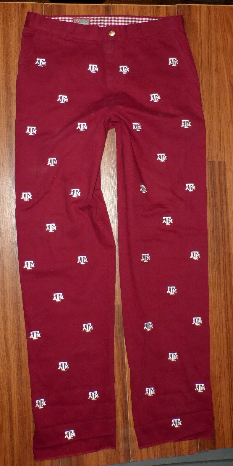 PENNINGTON BAILES TEXAS A&M AGGIES MAROON EMBROIDERED PANTS 36 UNFINISHED HEM
