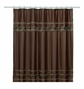 NEW-Mosaic-Mocha-Brown-Fabric-Shower-Curtain-and-Hooks-Set-by-Croscill