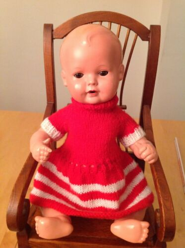 Handarbeit rotes Strickkleid Puppenkleid für Puppen bis 36 cm