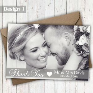 Details About Flat Or Folded Full Photo Personalised Wedding Thank You Cards Free Proof