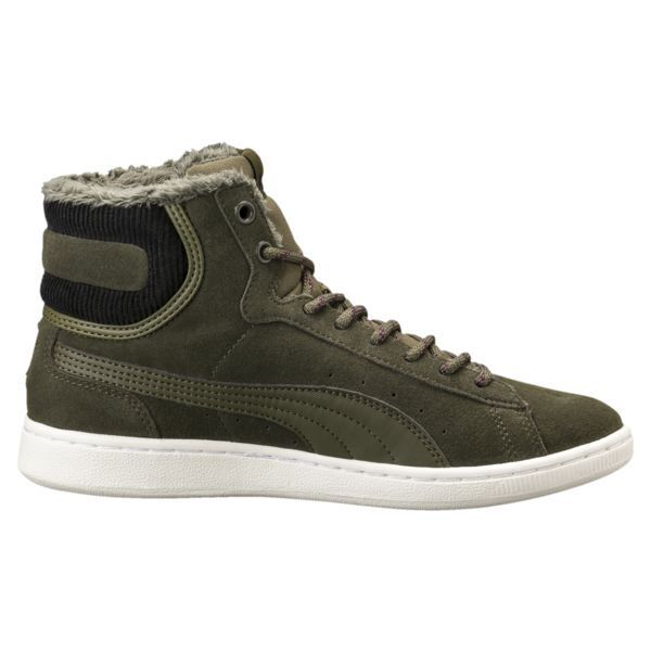 PUMA VIKKY MID CORDUROY WOMEN'S OLIVE NIGHT HIGH TOP SNEAKER ,