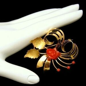 Vintage-Italy-18K-750-Gold-Swirled-Flower-Brooch-Pin-Pendant-Red-Coral-Rose