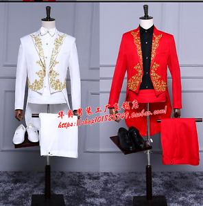 Men Gold Embroidery Tuxedo Suit Nightclub Performance New Dress Formal Coat Pant