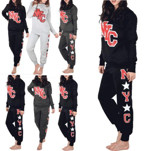 Ladies Womens Essential Wear Fleece NYC Print Bottoms Sweatshirts Tracksuit Set