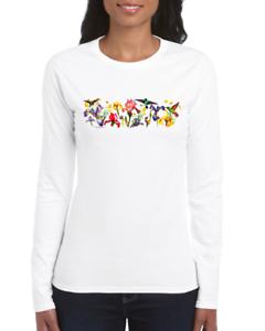 Gildan-Long-Sleeve-T-shirt-Country-Flower-Shirt-Birds-Flowers-Hummingbird